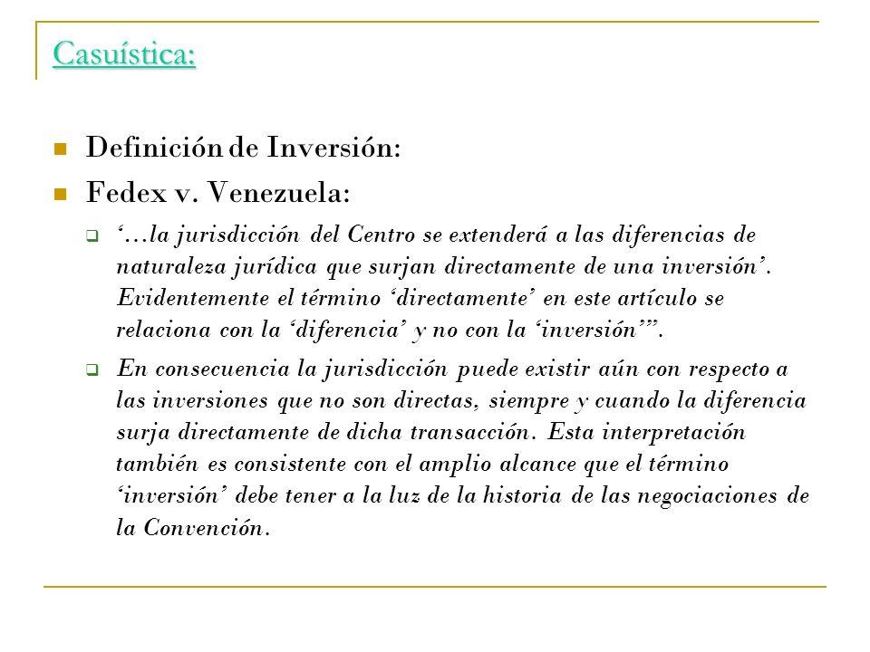 Casuística: Definición de Inversión: Fedex v. Venezuela: