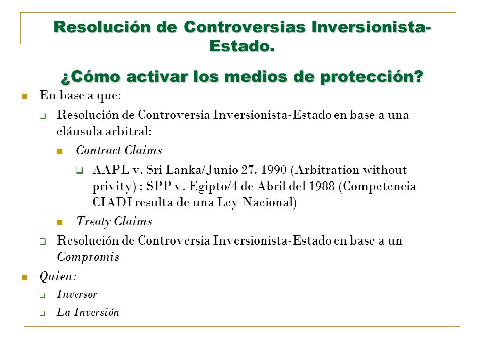 Resolución de Controversias Inversionista-Estado