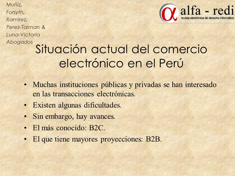 Situación actual del comercio electrónico en el Perú