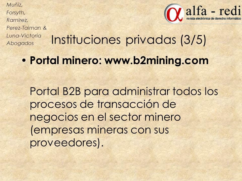 Instituciones privadas (3/5)