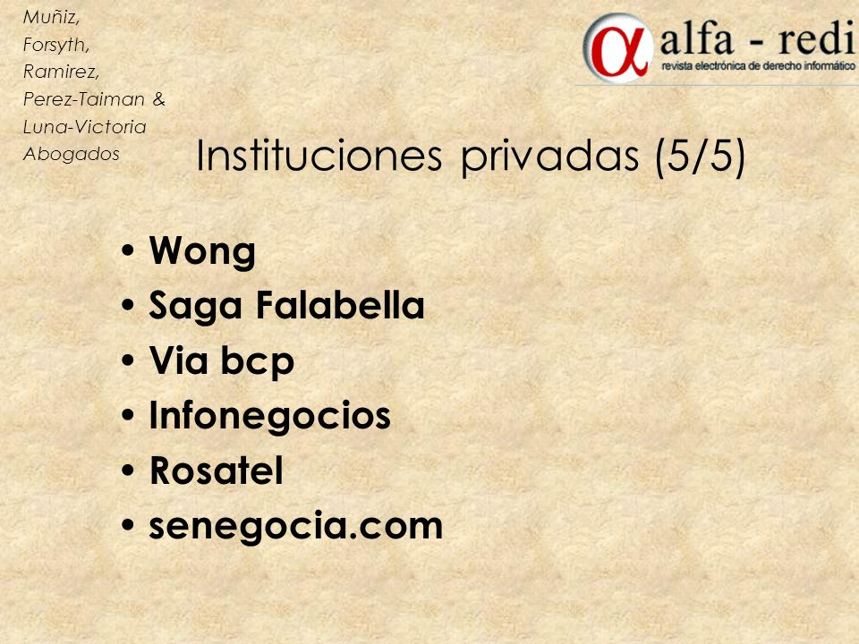 Instituciones privadas (5/5)