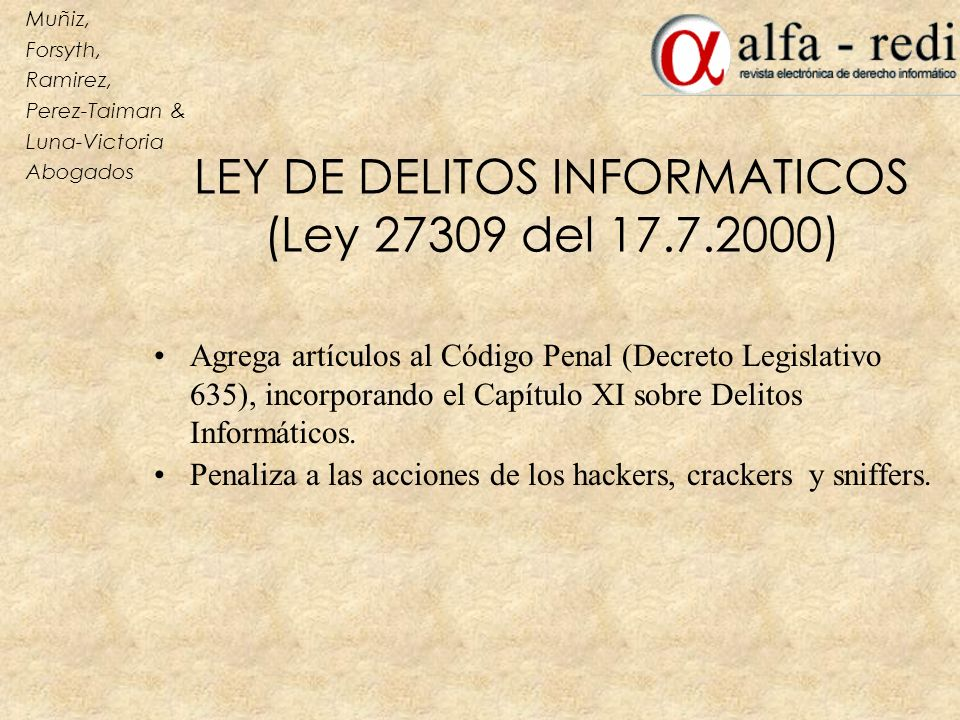 LEY DE DELITOS INFORMATICOS (Ley 27309 del 17.7.2000)