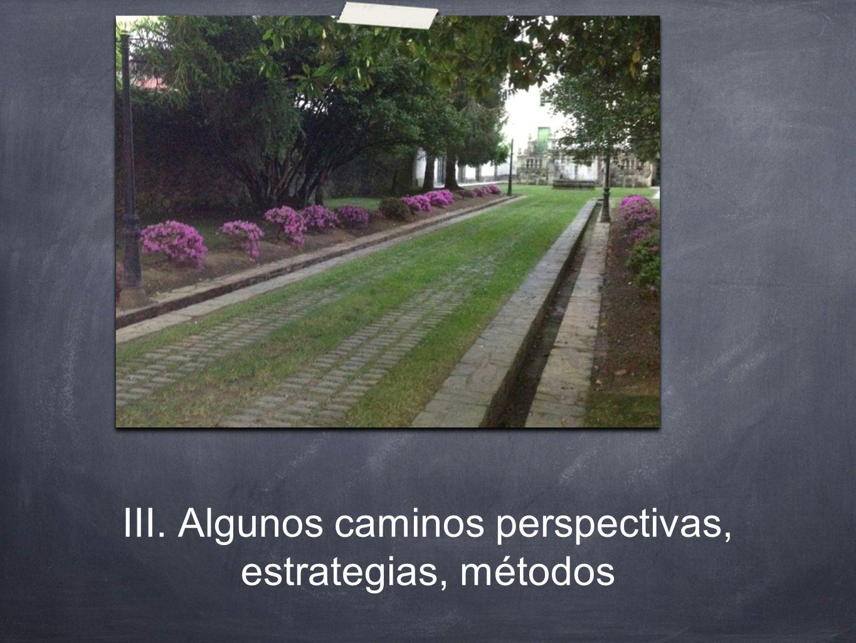 III. Algunos caminos perspectivas, estrategias, métodos