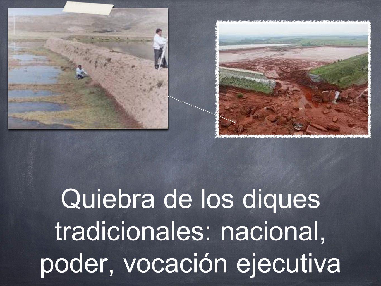 Quiebra de los diques tradicionales: nacional, poder, vocación ejecutiva