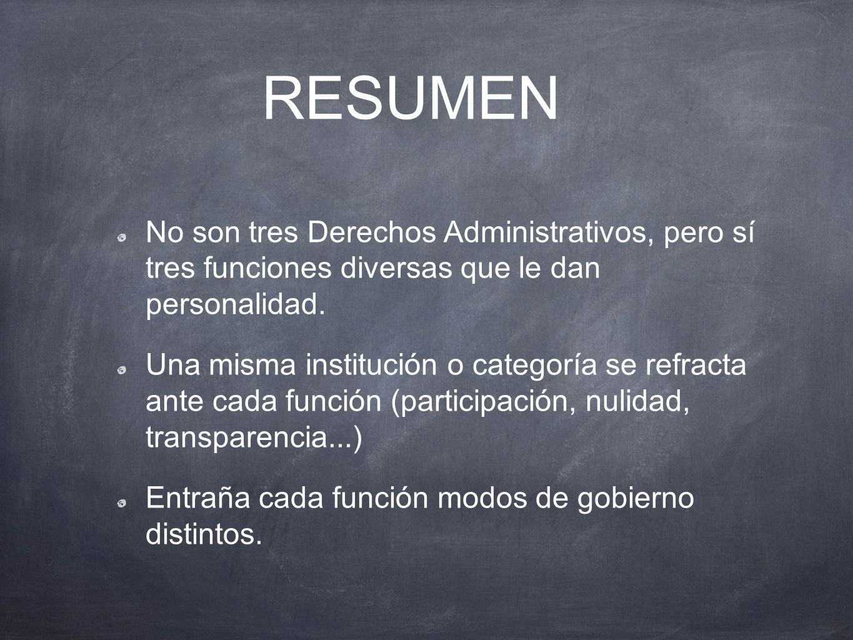 RESUMEN No son tres Derechos Administrativos, pero sí tres funciones diversas que le dan personalidad.