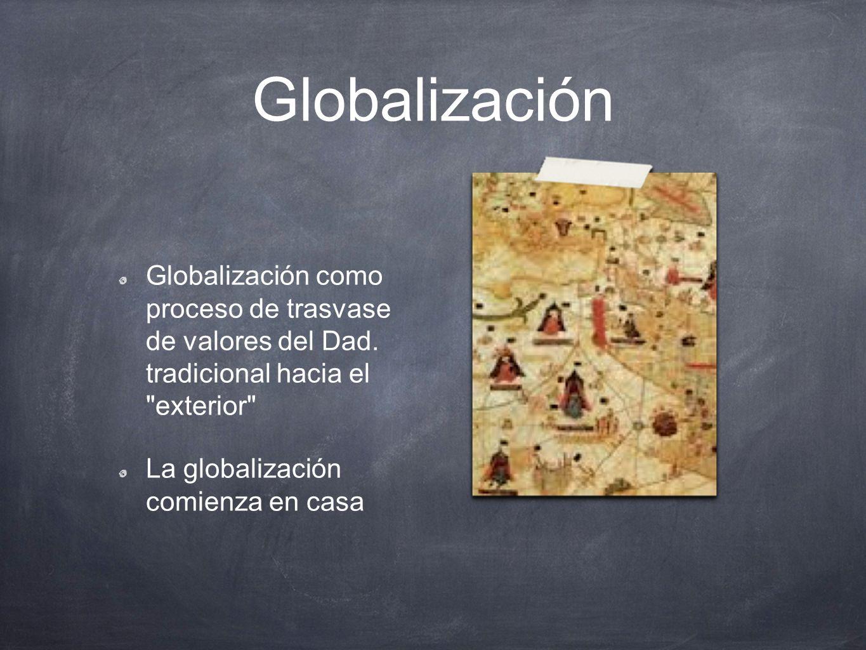 Globalización Globalización como proceso de trasvase de valores del Dad. tradicional hacia el exterior