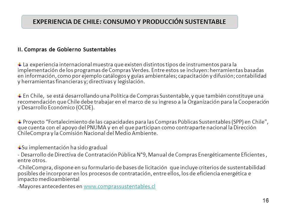 EXPERIENCIA DE CHILE: CONSUMO Y PRODUCCIÓN SUSTENTABLE