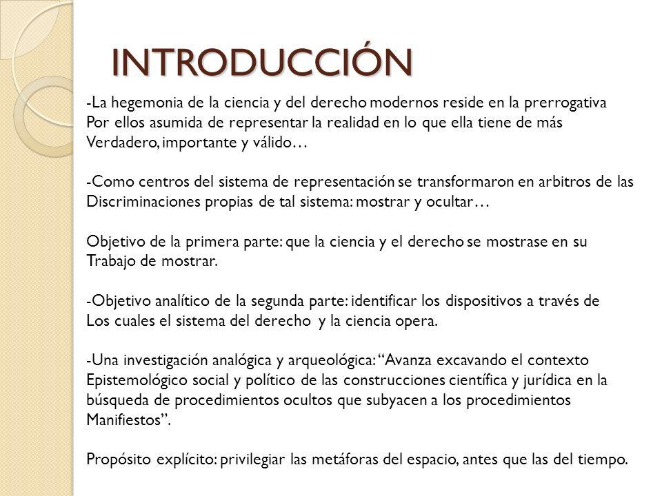 INTRODUCCIÓN -La hegemonia de la ciencia y del derecho modernos reside en la prerrogativa.
