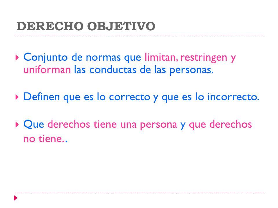 DERECHO OBJETIVO Conjunto de normas que limitan, restringen y uniforman las conductas de las personas.