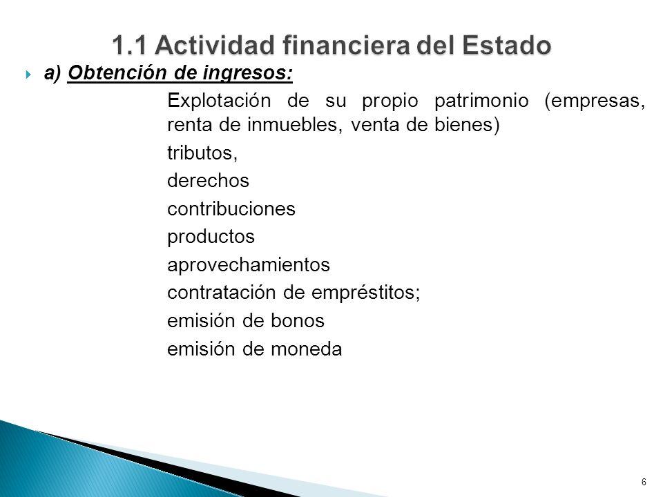 1.1 Actividad financiera del Estado
