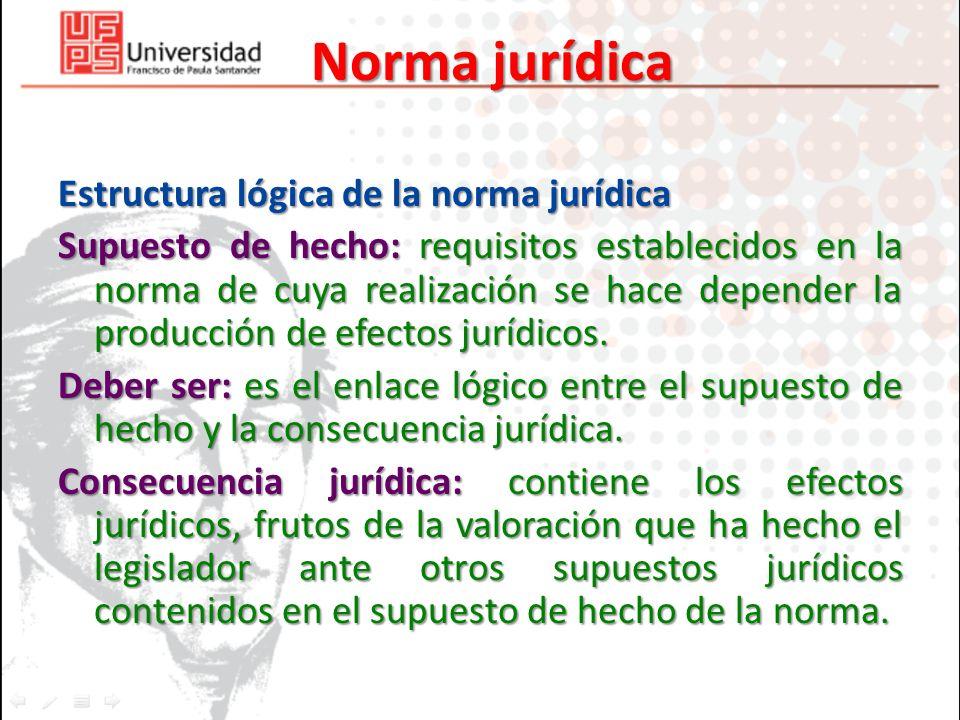 Norma jurídica Estructura lógica de la norma jurídica