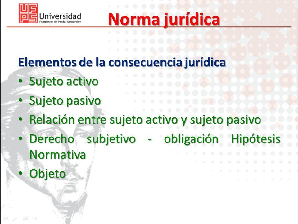 Norma jurídica Elementos de la consecuencia jurídica Sujeto activo