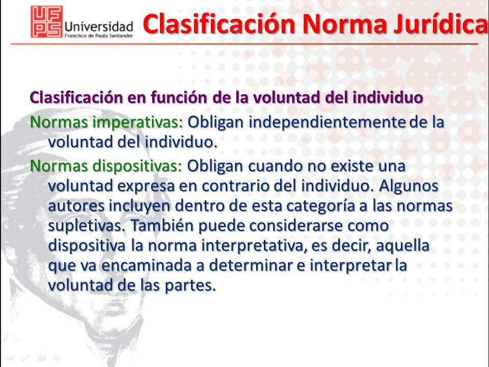 Clasificación Norma Jurídica