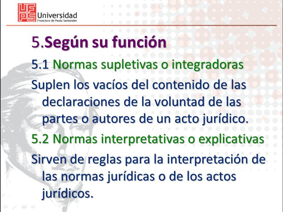 5.Según su función 5.1 Normas supletivas o integradoras