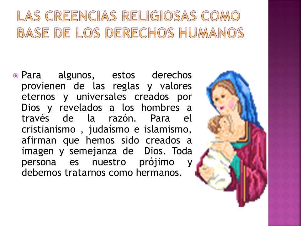 LAS CREENCIAS RELIGIOSAS COMO BASE DE LOS DERECHOS HUMANOS