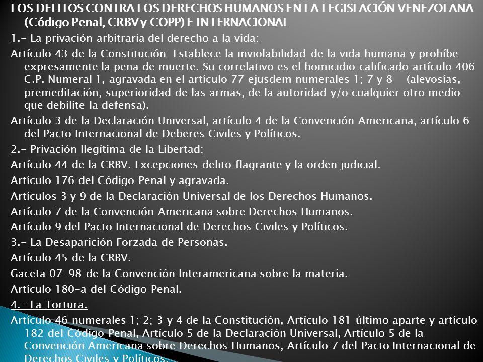 LOS DELITOS CONTRA LOS DERECHOS HUMANOS EN LA LEGISLACIÓN VENEZOLANA (Código Penal, CRBV y COPP) E INTERNACIONAL