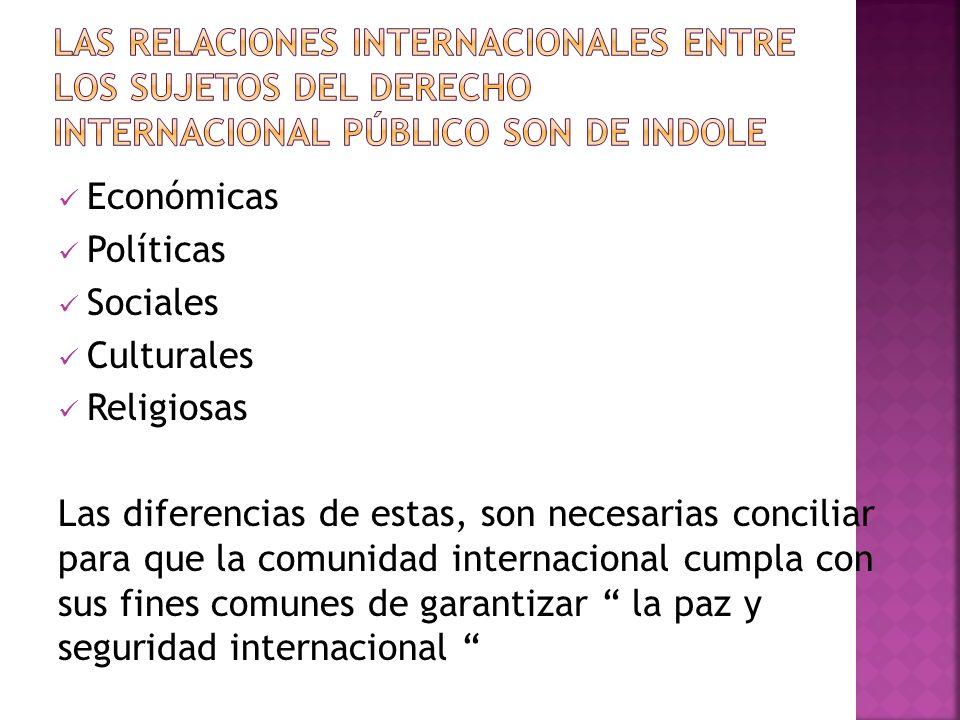 LAS RELACIONES INTeRNACIONALES ENTRE LOS SUJETOS DEL DERECHO INTERNACIONAL PÚBLICO SON DE INDOLE