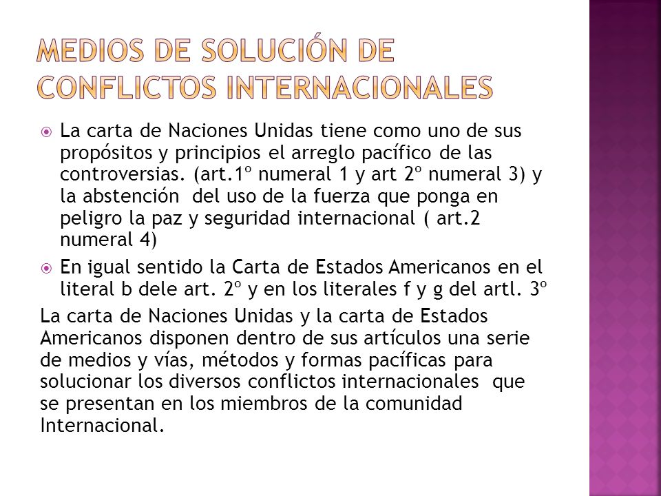 Medios de solución de conflictos internacionales