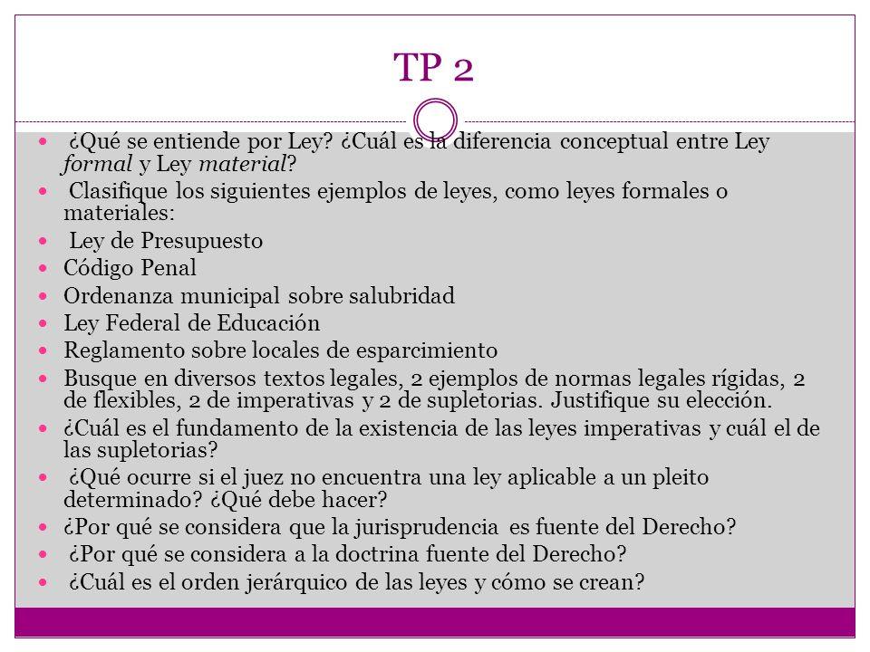 TP 2 ¿Qué se entiende por Ley ¿Cuál es la diferencia conceptual entre Ley formal y Ley material