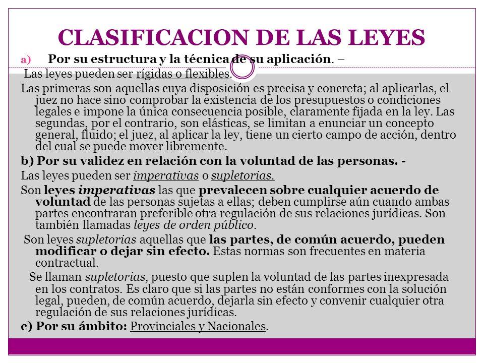 CLASIFICACION DE LAS LEYES