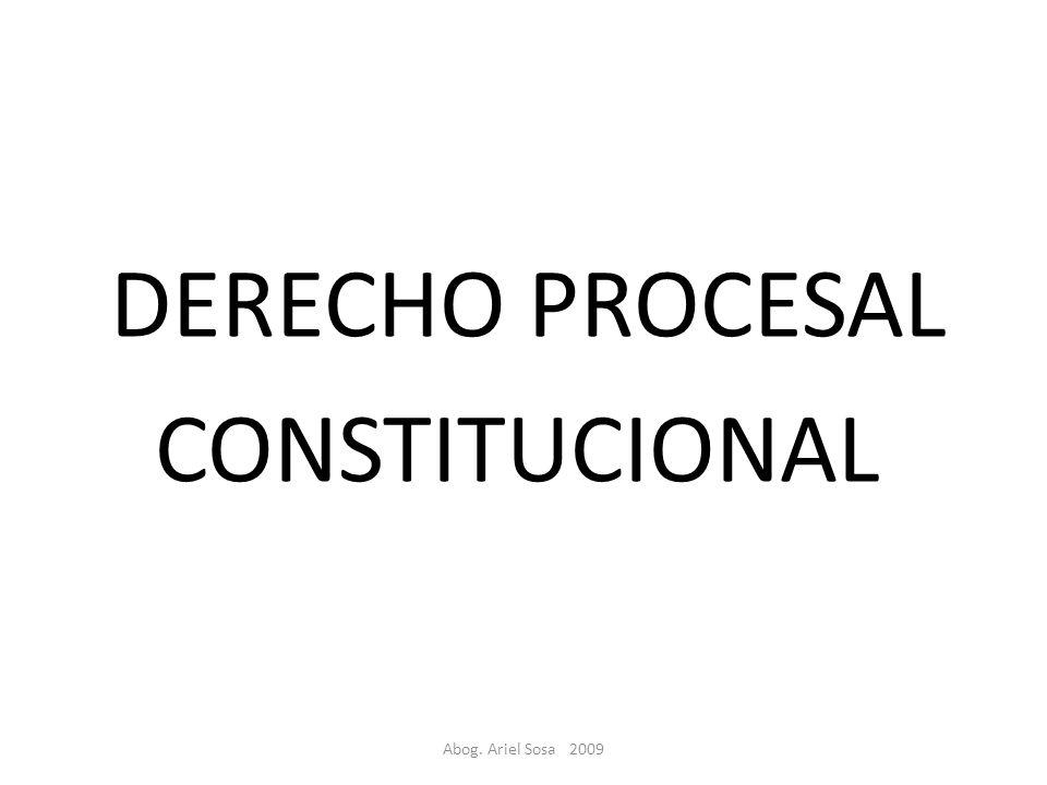 DERECHO PROCESAL CONSTITUCIONAL Abog. Ariel Sosa 2009