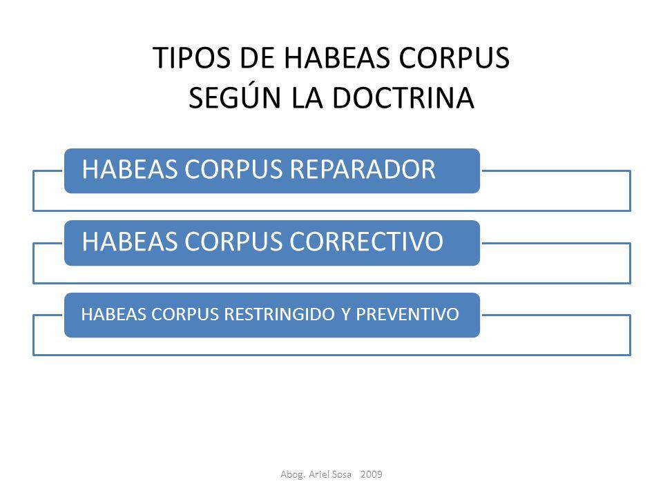 TIPOS DE HABEAS CORPUS SEGÚN LA DOCTRINA