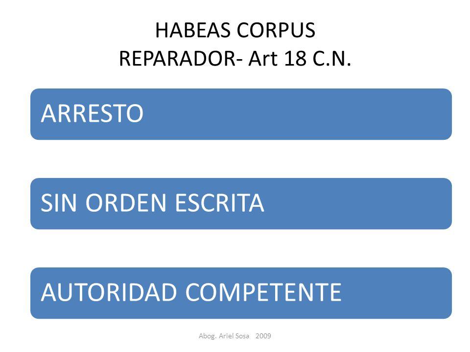 HABEAS CORPUS REPARADOR- Art 18 C.N.