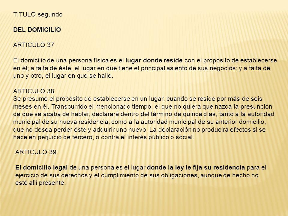 TITULO segundo DEL DOMICILIO. ARTICULO 37.