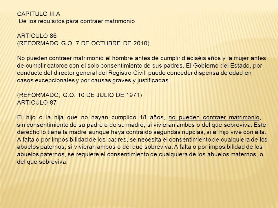 CAPITULO III A De los requisitos para contraer matrimonio. ARTICULO 86. (REFORMADO G.O. 7 DE OCTUBRE DE 2010)