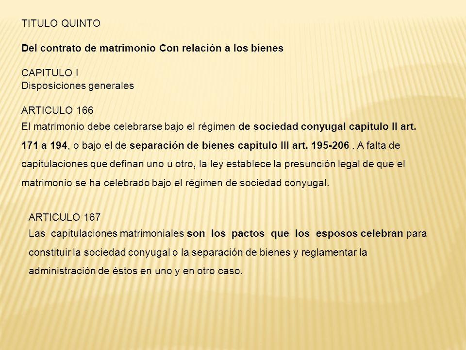 TITULO QUINTO Del contrato de matrimonio Con relación a los bienes. CAPITULO I. Disposiciones generales.