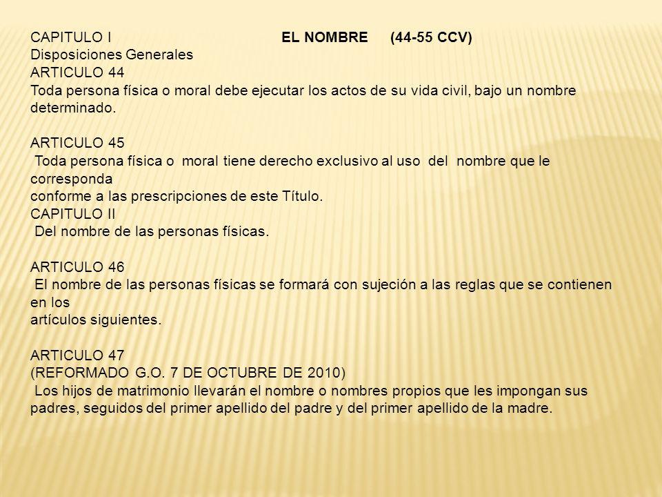 CAPITULO I EL NOMBRE (44-55 CCV)