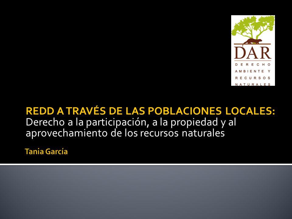 REDD A TRAVÉS DE LAS POBLACIONES LOCALES:
