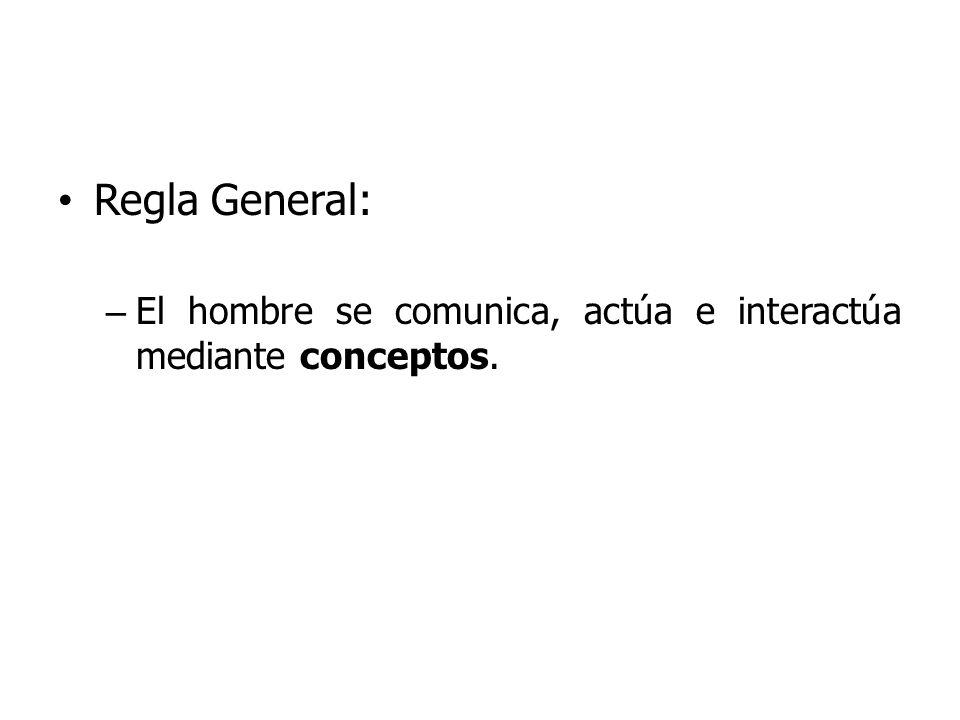 Regla General: El hombre se comunica, actúa e interactúa mediante conceptos.
