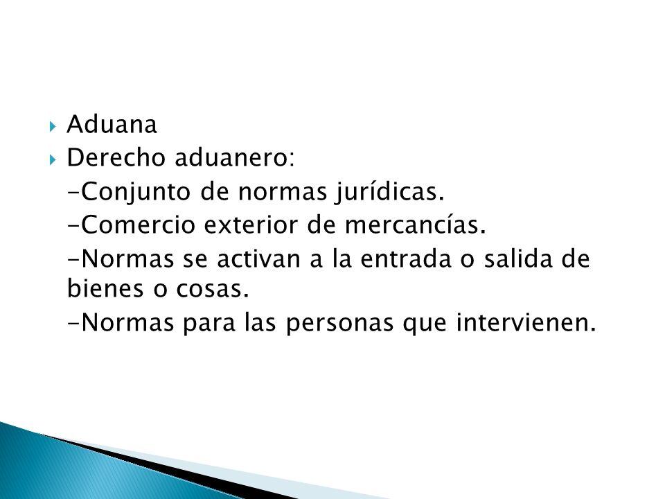 Aduana Derecho aduanero: -Conjunto de normas jurídicas. -Comercio exterior de mercancías.