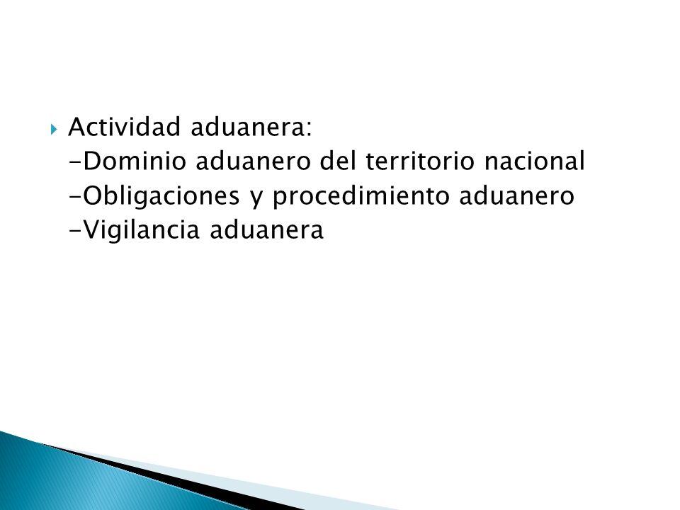Actividad aduanera: -Dominio aduanero del territorio nacional. -Obligaciones y procedimiento aduanero.