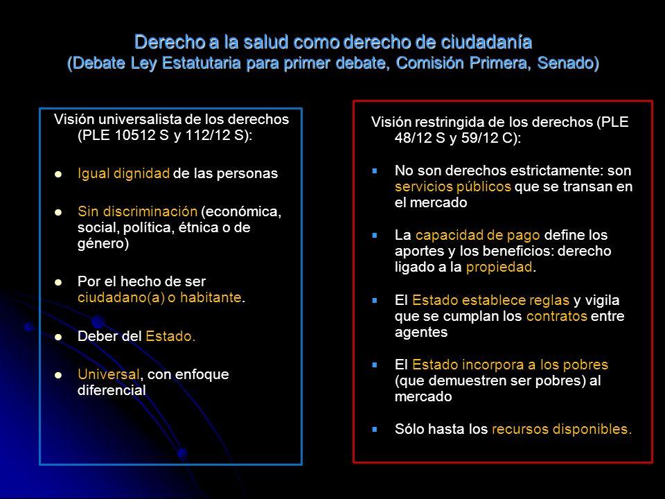 Derecho a la salud como derecho de ciudadanía (Debate Ley Estatutaria para primer debate, Comisión Primera, Senado)