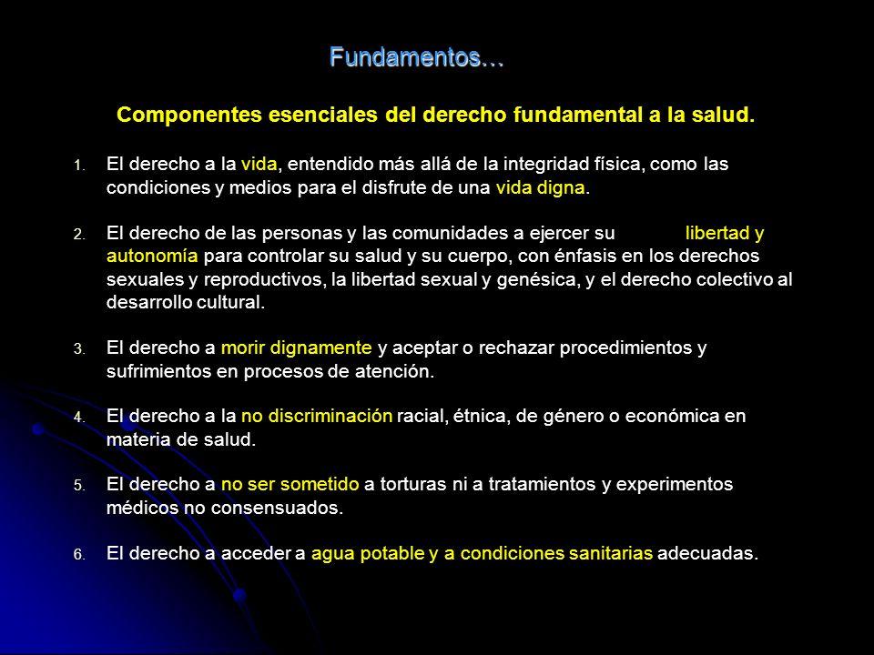 Componentes esenciales del derecho fundamental a la salud.