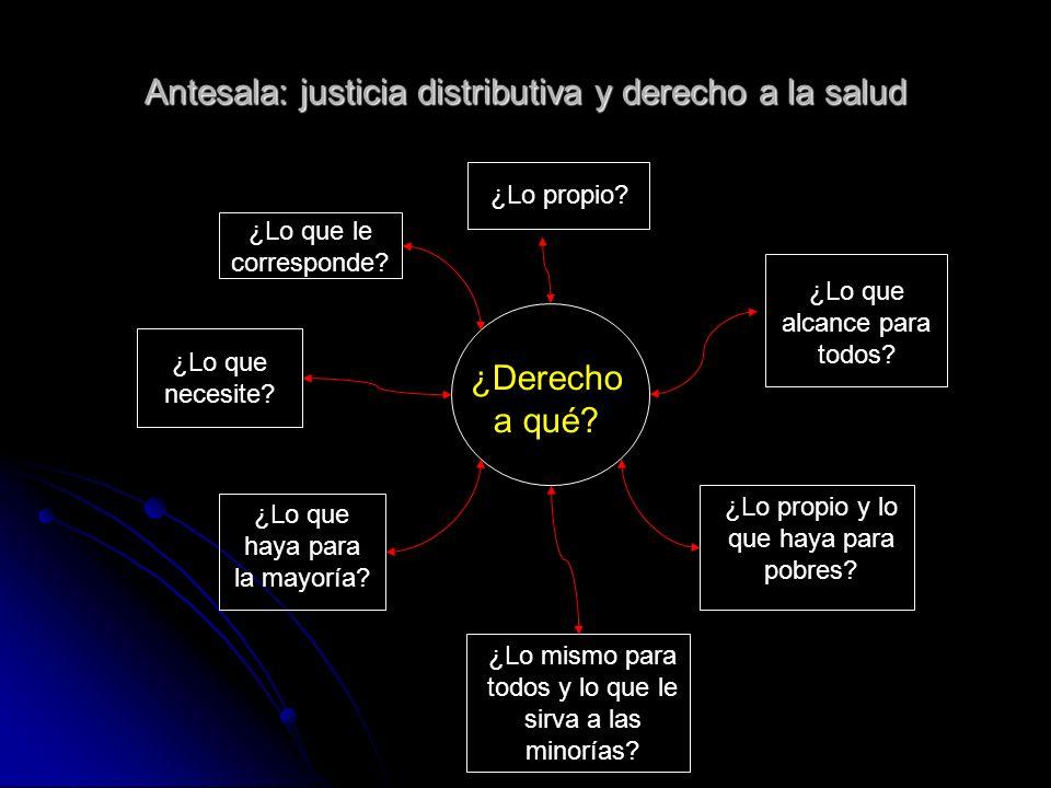 Antesala: justicia distributiva y derecho a la salud