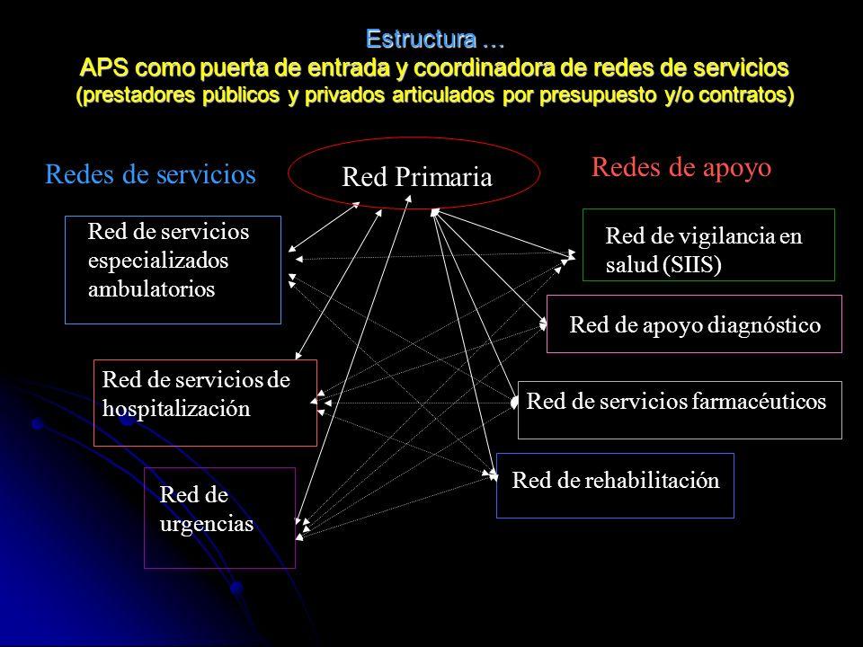 Redes de apoyo Redes de servicios Red Primaria