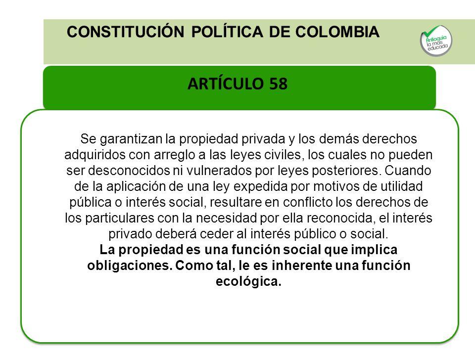 ARTÍCULO 58 CONSTITUCIÓN POLÍTICA DE COLOMBIA