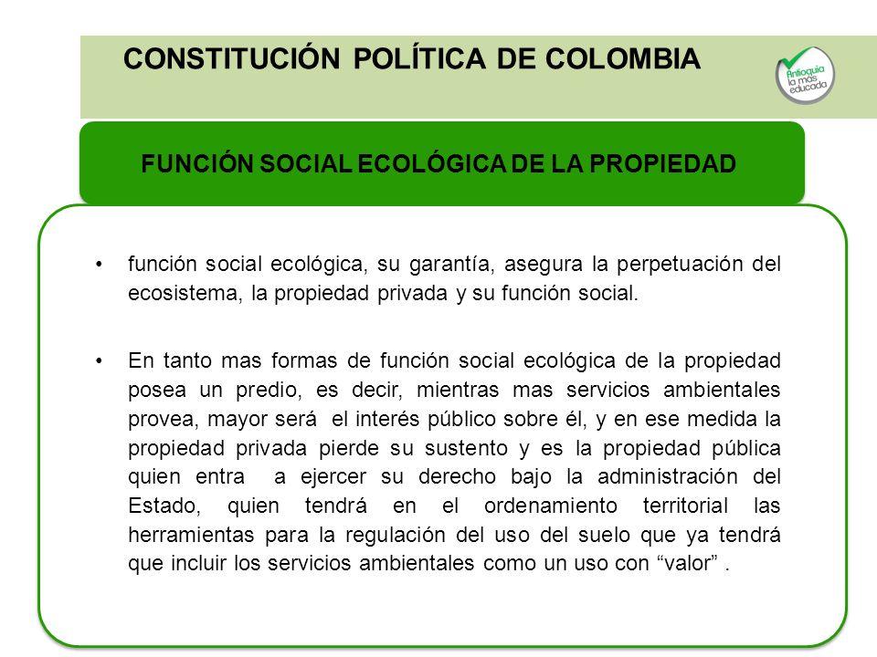 FUNCIÓN SOCIAL ECOLÓGICA DE LA PROPIEDAD