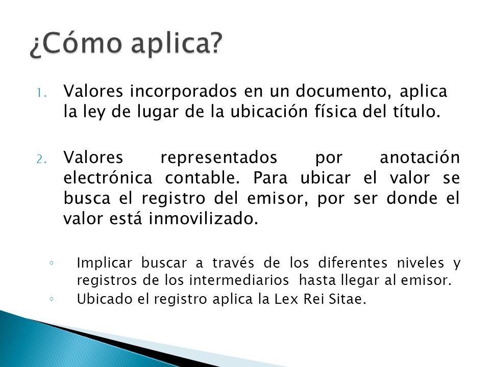 ¿Cómo aplica Valores incorporados en un documento, aplica la ley de lugar de la ubicación física del título.