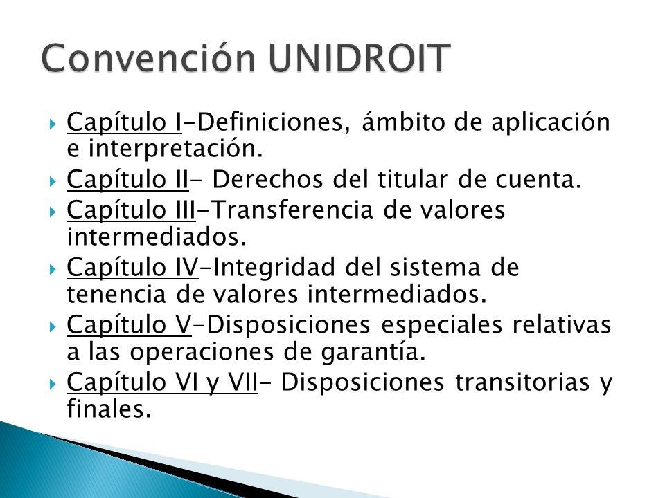 Convención UNIDROIT Capítulo I-Definiciones, ámbito de aplicación e interpretación. Capítulo II- Derechos del titular de cuenta.