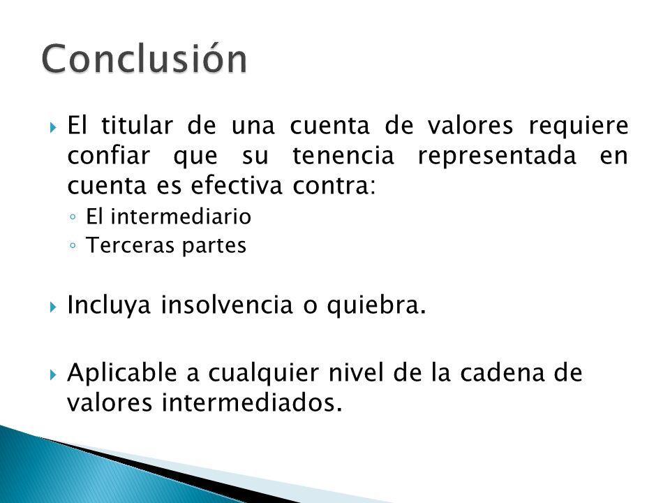Conclusión El titular de una cuenta de valores requiere confiar que su tenencia representada en cuenta es efectiva contra: