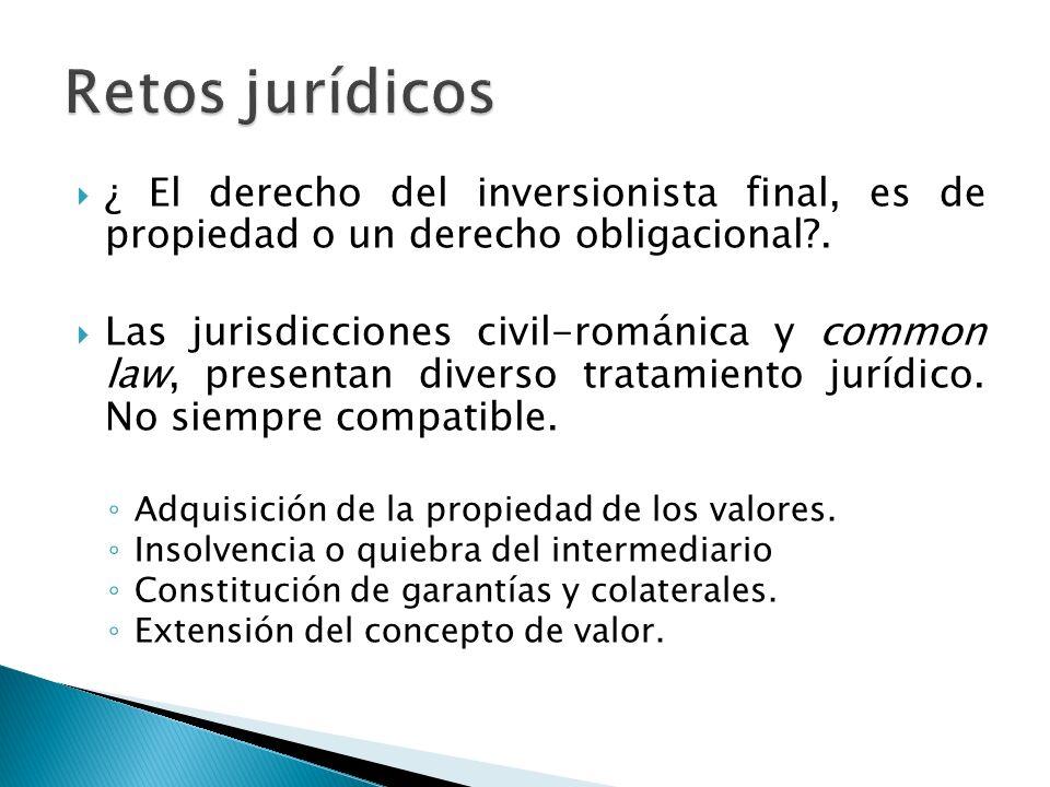 Retos jurídicos ¿ El derecho del inversionista final, es de propiedad o un derecho obligacional .