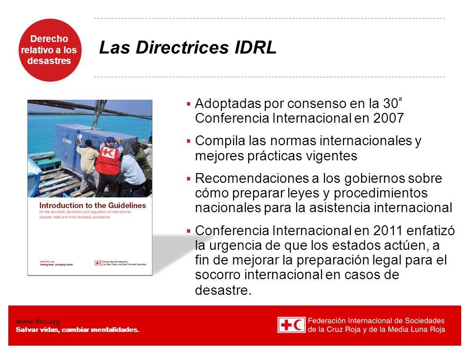 Las Directrices IDRL Adoptadas por consenso en la 30ª Conferencia Internacional en 2007.