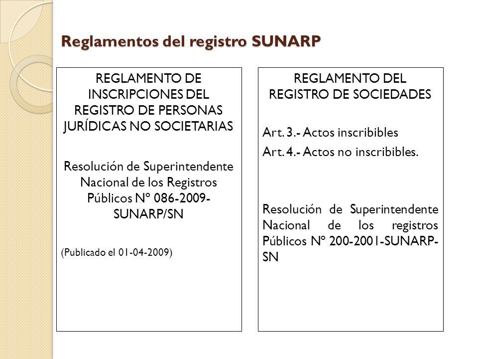 Reglamentos del registro SUNARP