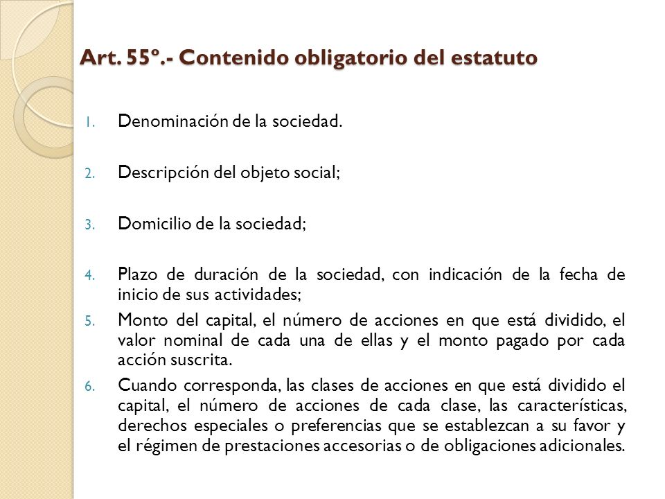Art. 55º.- Contenido obligatorio del estatuto