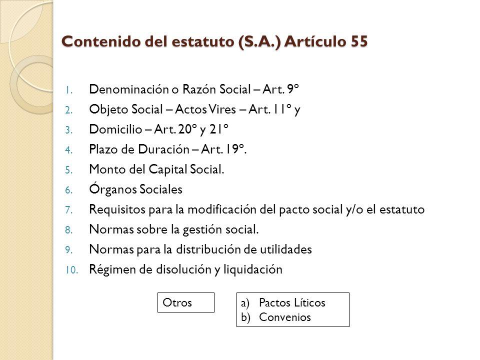 Contenido del estatuto (S.A.) Artículo 55