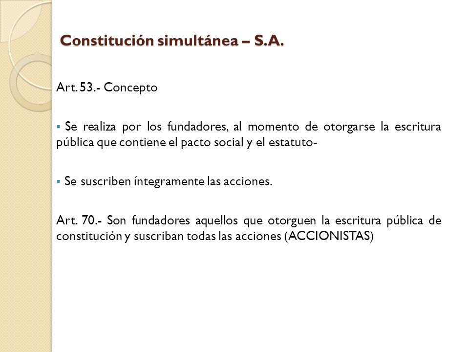 Constitución simultánea – S.A.